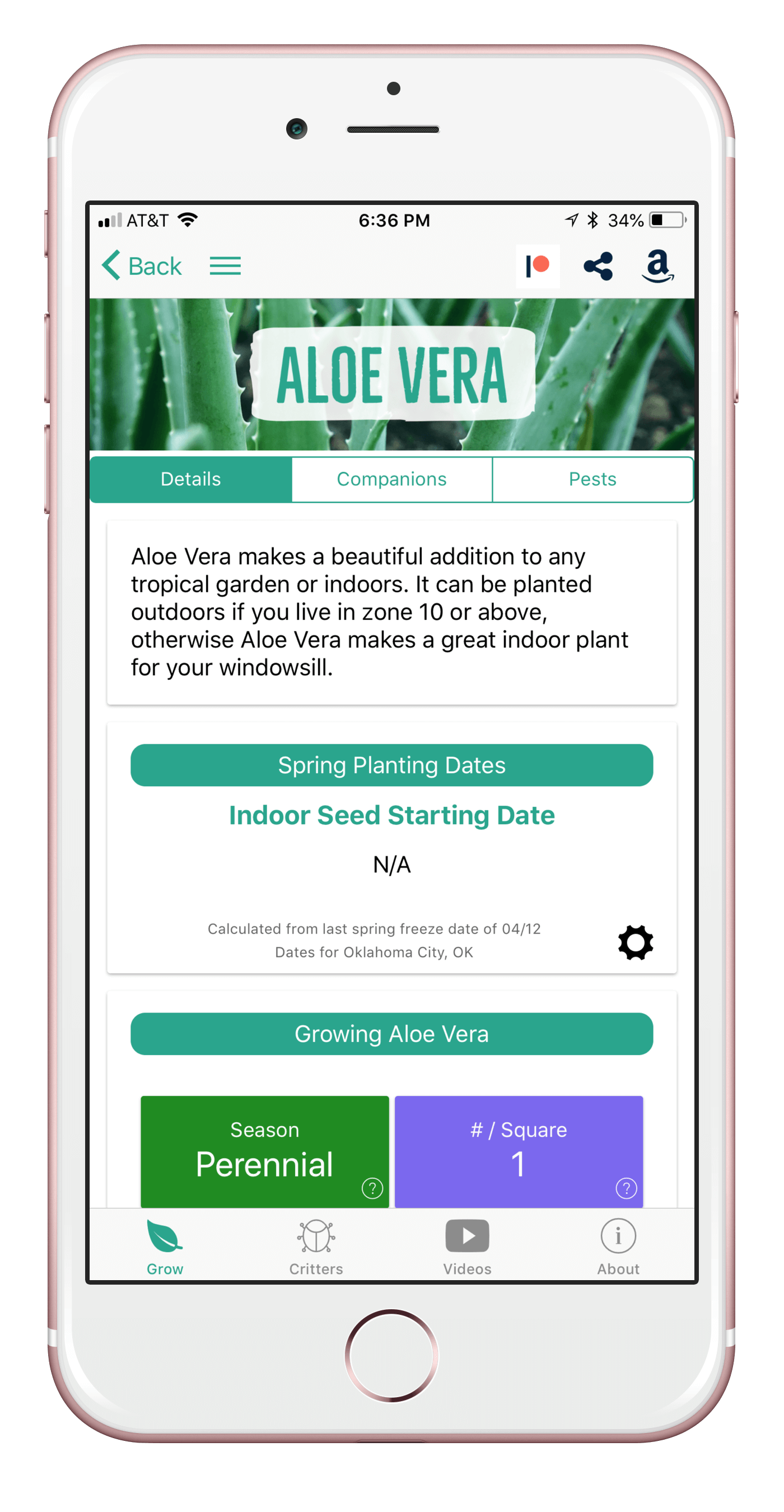 Grow Aloe Vera with the From Seed to Spoon Garden Planner App