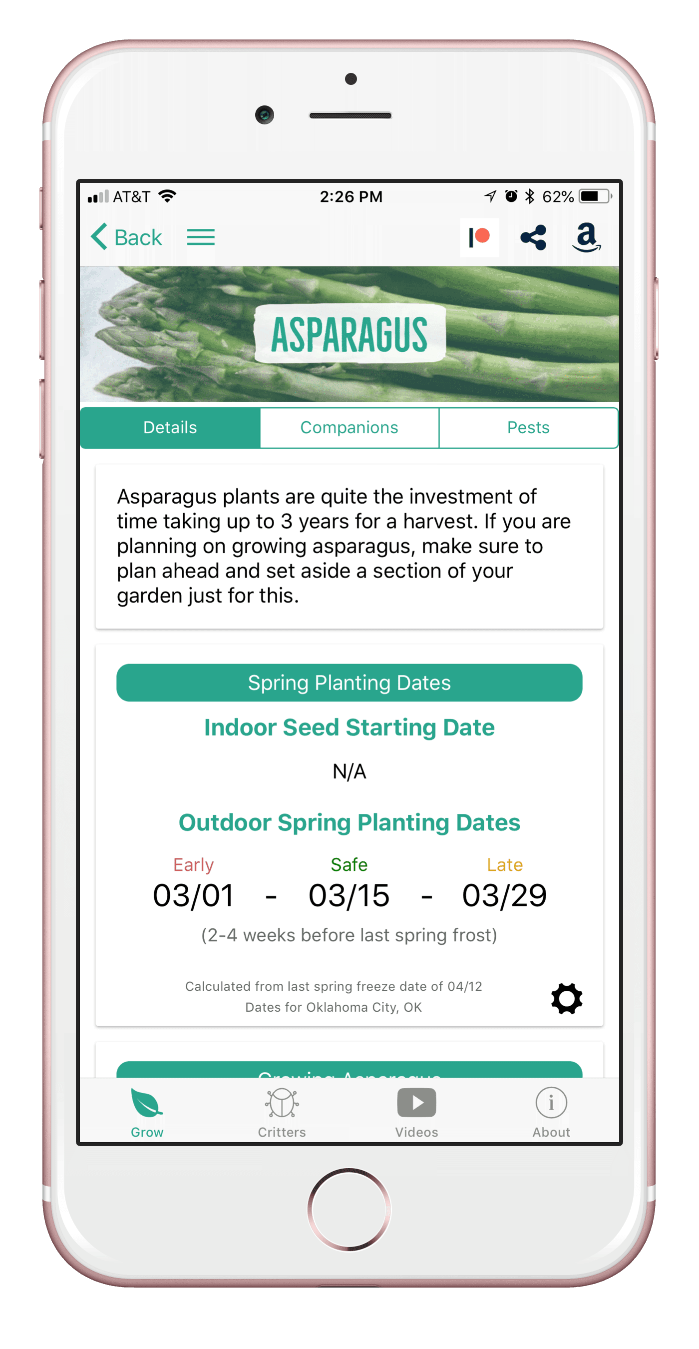 Grow Asparagus with the From Seed to Spoon Garden Planner App